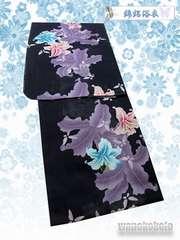 【和の志】女性用浴衣◇綿絽◇Fサイズ◇濃紺系・百合・蝶◇11