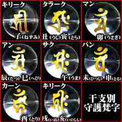10mm/タイガーアイ梵字水晶数珠ブレスレット/キリーク子年