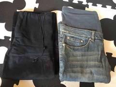 マタニティジーンズ、黒パンツ2本セット