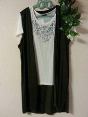 大きいサイズ◆Tシャツ+ロングベストセット◆3L◆新