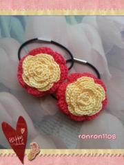 ハンドメイド♪レース編み2色のお花ヘアゴム2個セット 157