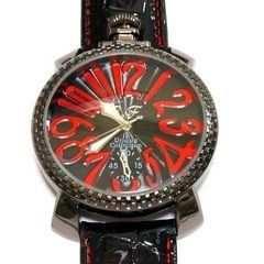 渋い黒&赤★デザイン腕時計メンズ★CF☆