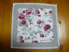 ローラアシュレィ薔薇柄ロゴ刺繍タオルハンカチ