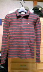 45rpm ウール 長袖ニット カットソー Sサイズ1 ボーダー 黒×赤 日本製 セーター