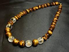 オラオラ系 守護梵字彫本水晶×タイガーアイ数珠ネックレス 金運招来