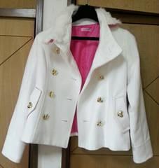 マーズ☆sugar gloss MARS☆白コート内側ピンク、ゴールドハートボタン