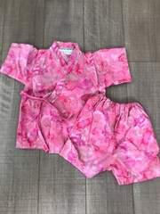 女の子ピンク甚平 夏祭りやパジャマにも日本製 綿100%