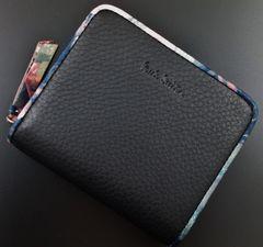 新品/箱付 ポールスミス 人気花柄デザイン 折り財布 黒 f122