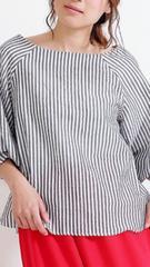 ☆新品☆可愛い薄手ゆったり七分ストライプ袖ふんわりトップス