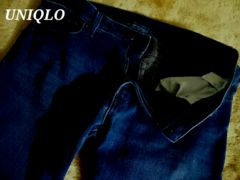 【UNIQLO】ユニクロ ヒートテックスリムフィットジーンズ34(86.5〜90�p)/インディゴブルー
