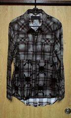 新品ROENロエン フロッキースカルコーティングチェックシャツ S