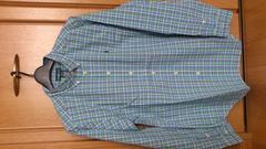 激安75%オフポロラルフローレン、長袖シャツ(新品タグ、緑青チェック、M位)
