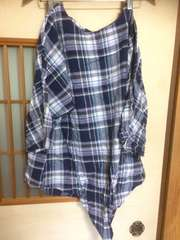 七分袖チェックブラウスLL*大きいサイズ*クリックポスト185円