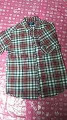 中古品  チェック  シャツ  赤  140cm