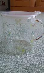 耐熱ガラス調味料ポット フラワーグリーン
