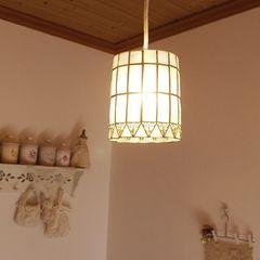 円筒カピス貝シーリングランプ★ソケット・電球付属/天井照明