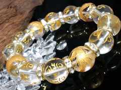 金四神獣水晶六字真言水晶14ミリ数珠