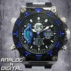 ★アナ&デジ・ダイバーズウォッチ風・MF・腕時計628BB