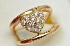 K18 750 合計 0.50ct ハート ダイヤモンドリング 5号 指輪