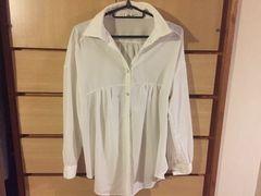 mysty womanミスティウーマン*袖ロールアップ バックリボン付きシャツ