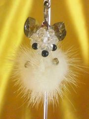 激可愛い毛皮ミンク&クリスタルビーズ使用犬ストラップ