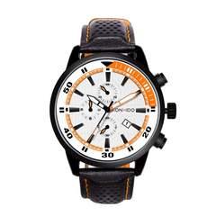 腕時計 メンズ 日本製クォーツ オレンジ