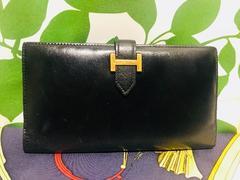 良品エルメスベアン二つ折長財布ブラックレザーP刻印