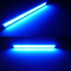 12V24V兼用/面発光COB-青色LEDデイライト/シルバーフレーム/2個