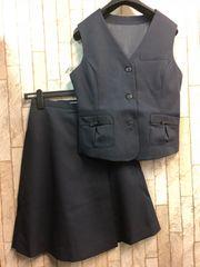 新品☆7号お仕事ベストスーツ紺キュロットタイプ☆n290
