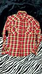 チェックシャツ☆RED(M) ※ジャンク