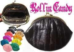99M)うなぎの革イールスキンがま口ポーチダークブラウン革レザー財布ウォレットセレブ