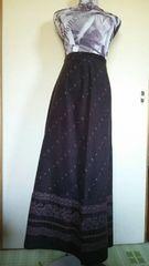 W61 秋冬春 焦げ茶 ペイズリー マキシスカート ロングスカート