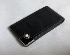 限定 モンブラン MONTBLANC レザーマネークリップ黒 財布 ホワイトスターカボション装飾