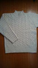 ざっくり縄編み 生成りセーター L 美品