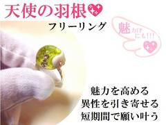 羽根の半球リング★魅力UP・短期間で夢叶う★スリーストーン/パワーストーン/占