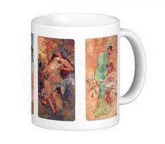 ミュシャ、『 四季( 1896 )』 のマグカップ