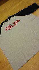 SeanJohnデザインプリント刺繍切り返し グレー黒 サイズ3XL→5XL位