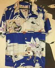 和柄 シャツ 兜、鶴