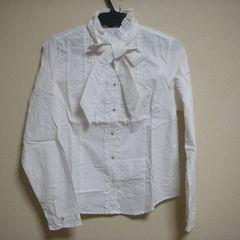 清楚な 長袖 ブラウス M ホワイト シャツ