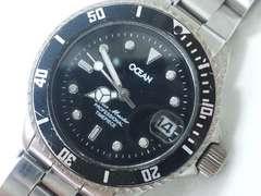 9389/OCEAN ブラックダイヤルダイバー型デザインメンズ腕時計★格安