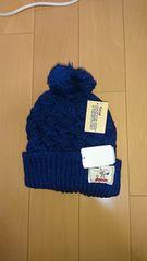 SNOOPY PEANUTS ネイビーニット帽子、新品タグ付き。