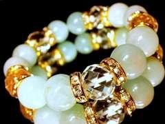 64面ダイヤカット水晶§アクアマリン§12ミリ§金ロンデル