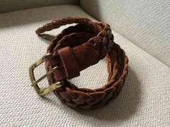 ラルフローレン 編み込みレザーベルト ブラウン 真鍮バックル 茶
