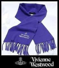 Vivienne Westwood  マフラー パープル マルチカラーロゴ ウール100% 10800円新品