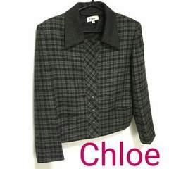 正規良品 Chloe クロエ ジャケット チェック 黒 グレー