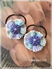ハンドメイド♪お花とフリルのレース編みヘアゴム2個セット 6