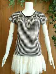 【新品未使用/即決】バックリボン付きボーダー半袖Tシャツ☆ブラウン&ホワイト/M