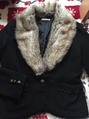 axes femme☆ファー付きジャケット☆黒☆ブラック☆コート