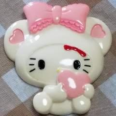 BIGパーツ ☆ りぼんハート (ホワイト) 着ぐるみ キティ ☆ 約 8cm