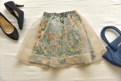 レトロガール フレアチュール重ね花柄スカート RETRO GIRL●